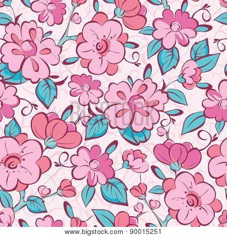 Vector pink blue kimono flowers seamless pattern background