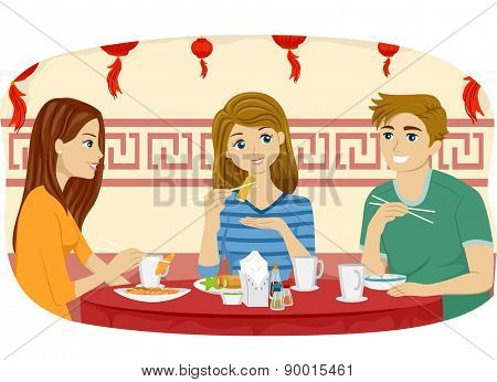 Illustration of Teenage Friends Eating at a Chinese Restaurant