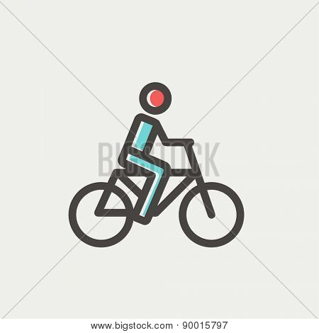 Racing bike icon thin line for web and mobile, modern minimalistic flat design. Vector icon with dark grey outline and offset colour on light grey background.