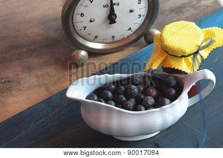 Blueberries Marmelade and Bowl