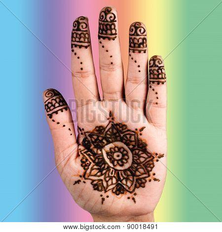 Henna hand tattoo decoration art clipping path square colur
