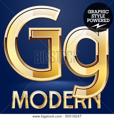 Vector set of modern golden glossy font. Letter G