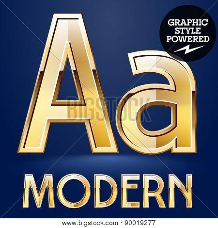 Vector set of modern golden glossy font. Letter A