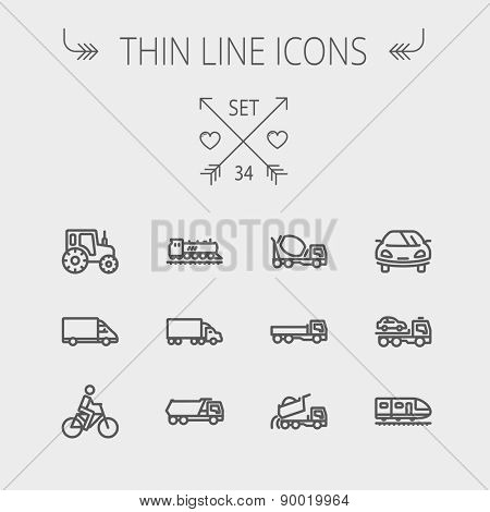 Transportation thin line icon set for web and mobile. Set includes- sports car, trucks, vans, bicycle, towing truck, mixer truck, train icons. Modern minimalistic flat design. Vector dark grey icon on