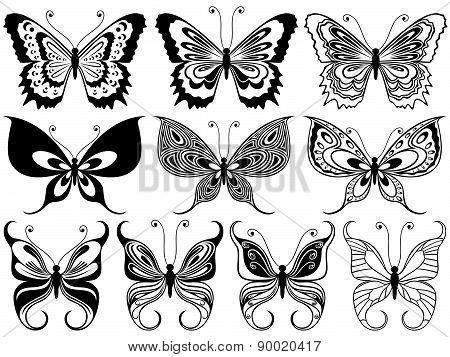 Set Of Ten Ornamental Butterflies