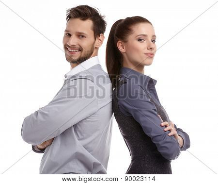 happy couple love smiling embracing, man and woman smile looking at camera, isolated over white background