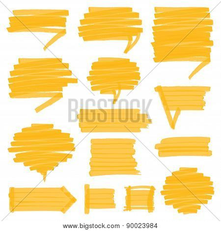 Highlighter Shaded Speech Bubbles Design Elements