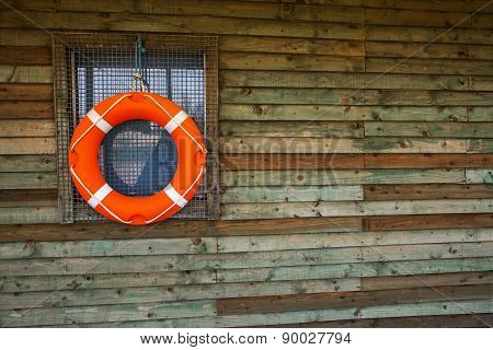Life Ring Or Life Buoy On Hut, For Watersports / Safety.