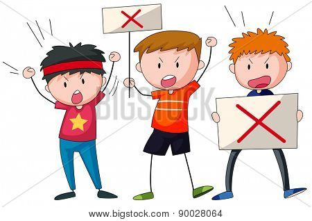 Three protestors holding signs shouting
