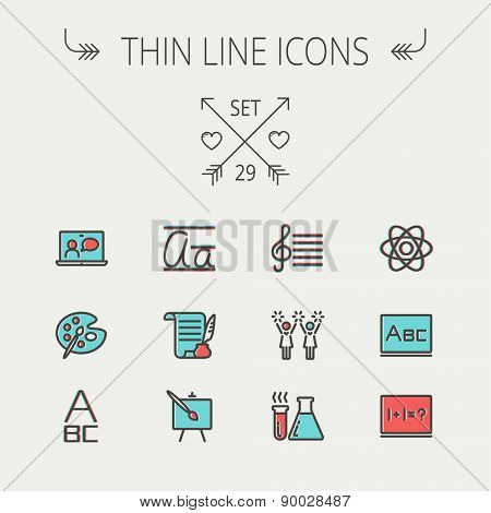 Education thin line icon set for web and mobile. Set includes-palette and paint brush, alphabet, notepad, chart, cheerleaders, medical, supplies  icons. Modern minimalistic flat design. Vector icon