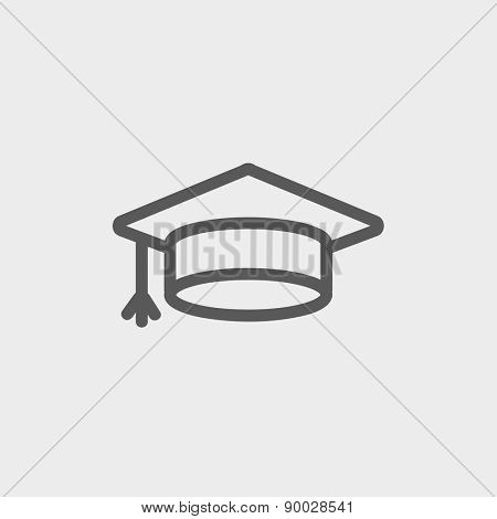 Graduation cap icon thin line for web and mobile, modern minimalistic flat design. Vector dark grey icon on light grey background.