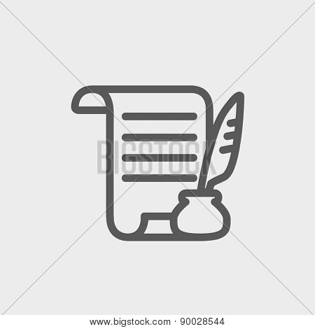 Paper scroll with feather pen icon thin line for web and mobile, modern minimalistic flat design. Vector dark grey icon on light grey background.