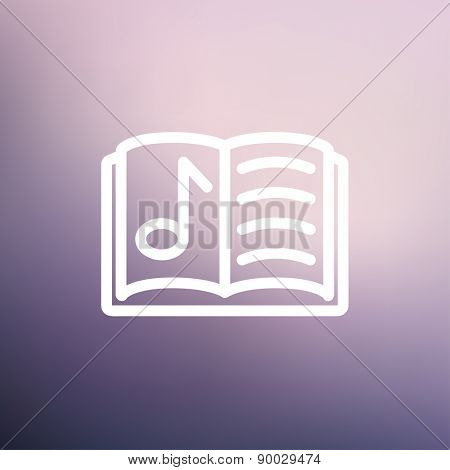 Musical book icon thin line for web and mobile, modern minimalistic flat design. Vector white icon on gradient mesh background.