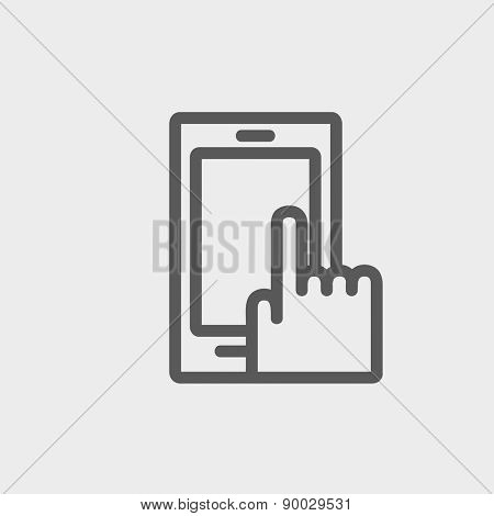 Mobile phone icon thin line for web and mobile, modern minimalistic flat design. Vector dark grey icon on light grey background.