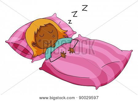 Girl sleeping in her pink bed