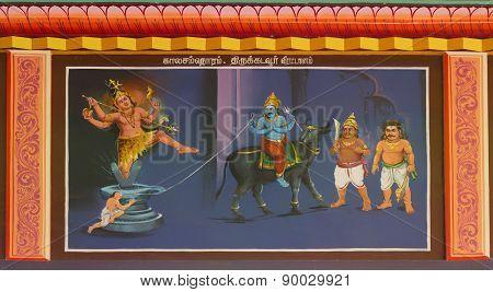 Shiva Saves The Life Of Markandeya And Kills Yama.