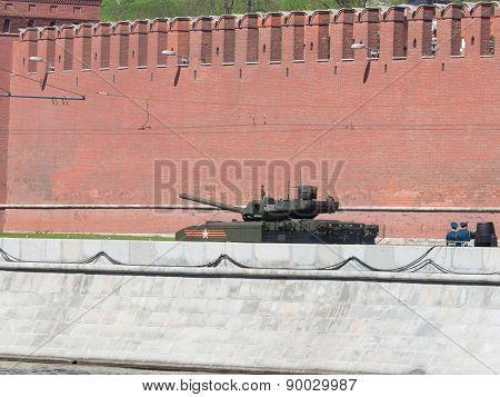 Tank Armata Quickly Passes On The Kremlin Embankment