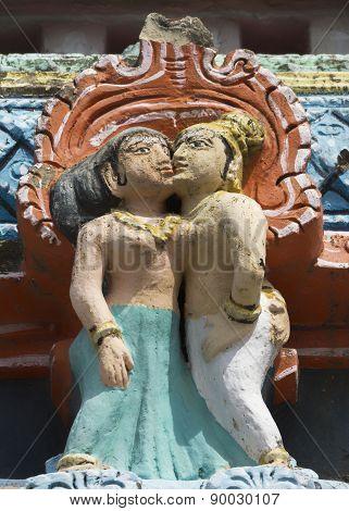 Detail Of Older Gopuram At Mahalingeswarar Temple, Standing Kissing Couple.