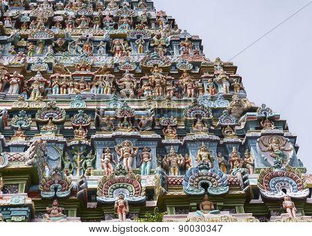 Statue Composition On Gopuram.