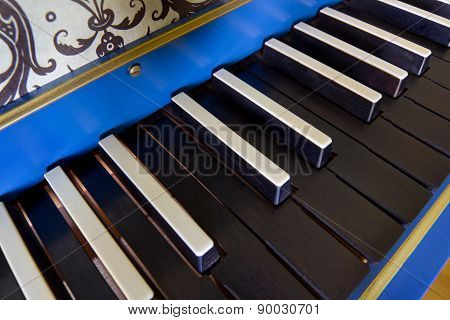 Old Harpsichord Keyboard, Close-up View