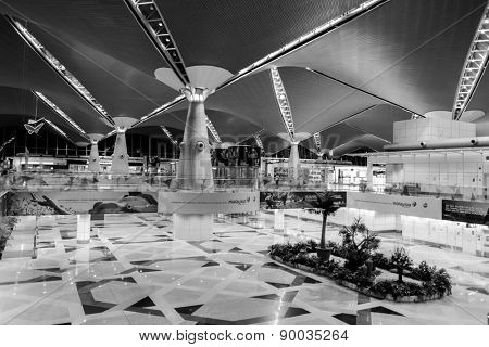 KUALA LUMPUR, MALAYSIA - APRIL 23, 2014: airport interior. Kuala Lumpur International Airport (KLIA) is Malaysia's main international airport and one of the major airports of South East Asia