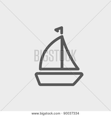Sailboat icon thin line for web and mobile, modern minimalistic flat design. Vector dark grey icon on light grey background.