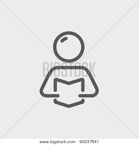 Man reading book  icon thin line for web and mobile, modern minimalistic flat design. Vector dark grey icon on light grey background.