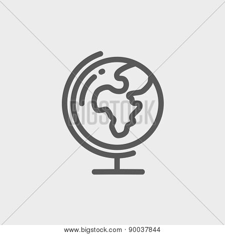 World globe with stand icon thin line for web and mobile, modern minimalistic flat design. Vector dark grey icon on light grey background.