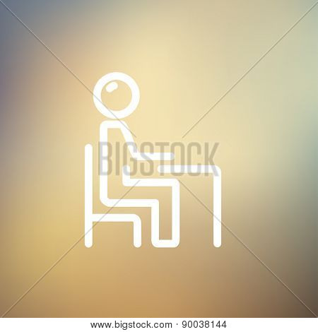 Student sitting on a chair in front of his table icon thin line for web and mobile, modern minimalistic flat design. Vector white icon on gradient mesh background.