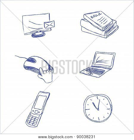 business, icon, set, sketch, hand drawing, vector, illustration