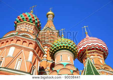 Domes of St. Basil cathedral in Moscow, Russia