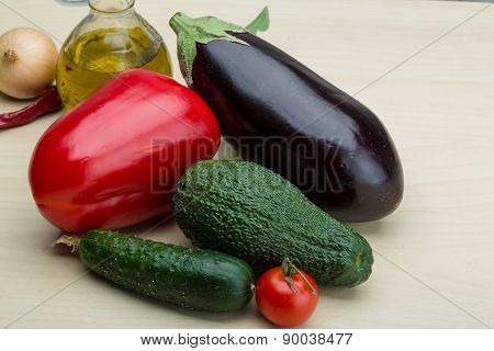 Eggplant, Cucumber, Avocado And Red Pepper