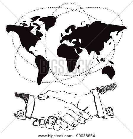 Handshake, illustration, vector, flat, design
