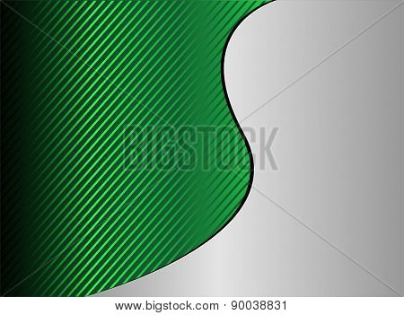 Green wave stripe background vector with place for text