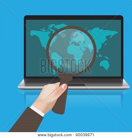flat, design, hand, mobile, magnifying, vector, illustration