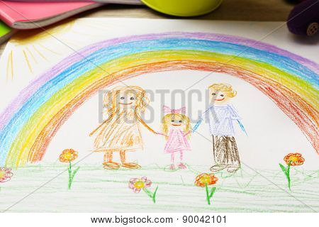 Kids drawing on white sheet of paper, closeup