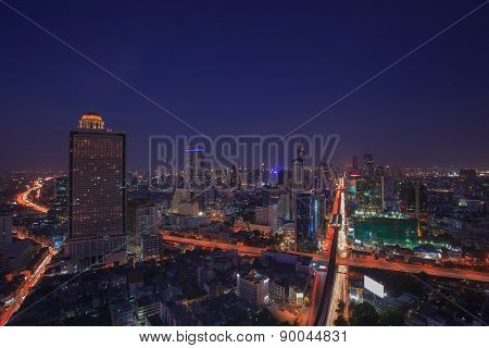Beautiful City Scape Dusky With Blue Sky Of Bangkok Sky Scrapper Scene One Of Important Landmark In