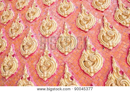 Patterned walls of Thailand Buddhist
