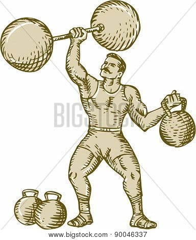 Strongman Lifting Barbell Kettlebell Etching