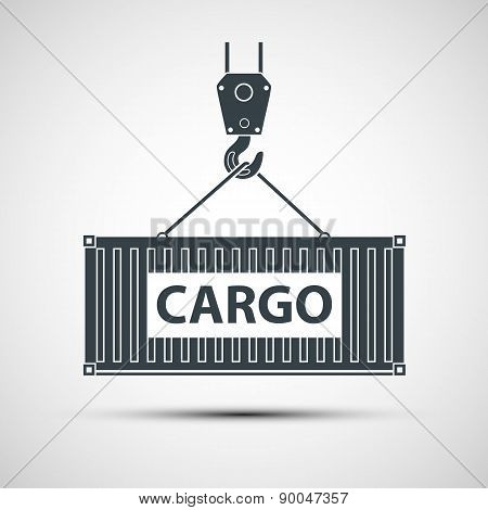Crane lifts a container with cargo. Vector image. poster