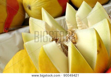 Closeup of melon fruit