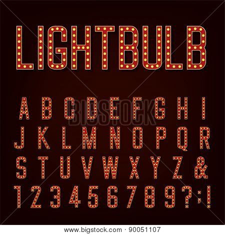 Retro Lightbulb Alphabet Vector Font