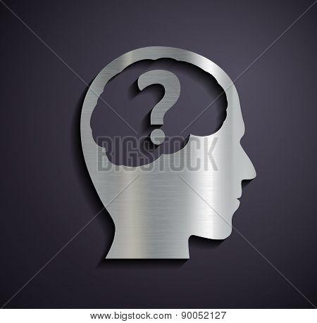 Flat Metallic Icon Of A Human Head.