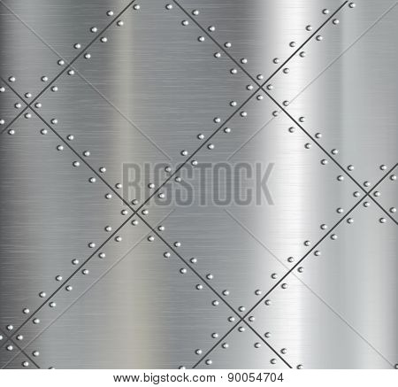 Background Of The Metal Plates With Riveted.