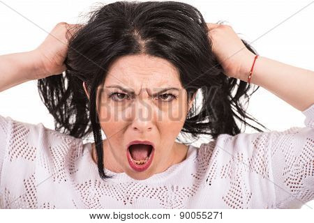 Very Furious Woman Pull Her Hair