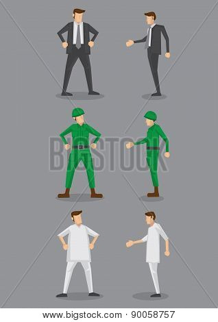 Businessman, Soldier And Male Nurse Vector Icons
