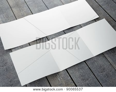 Blank Template Of Trifold Square Brochure