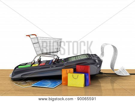 Payment Terminal With Credit Card, Shopping Cart And Shopping Bag On The Shop, Credit Card Reader, S