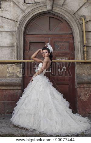 Beautiful brunette bride in antique style