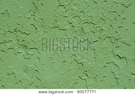 Green Old Painted Metal Texture Close Up